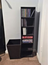 CD/DVD UNIT AND MATCHING BIN DARK BROWN LEATHER EFFECT