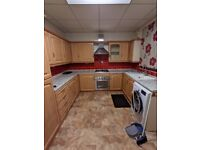 Full Kitchen with Fridge, Washing Machine, worktops, cabinets, sink, Stove cooker/extractor