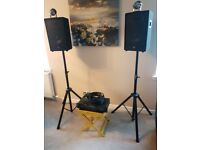 1000w PA amplifier and speakers used once Party set up with lighting and stands