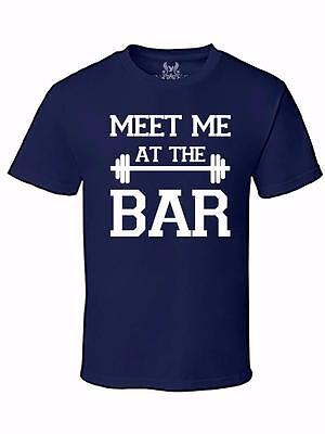 NW MEN'S PRINTED MEET ME AT THE BAR FUNNY GYM SPORTS GRAPHIC DESIGN TEE