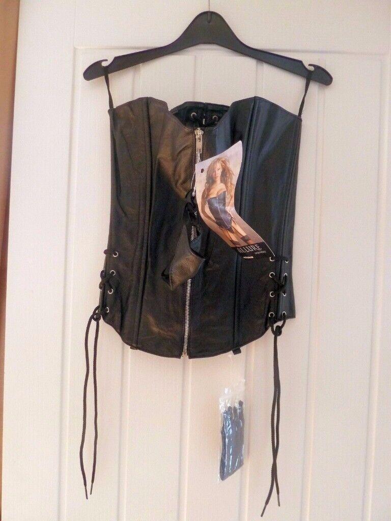 d76098e3b92 New Black Leather Lace Up   Zip Corset Large 36 c -38 b Allure Leather
