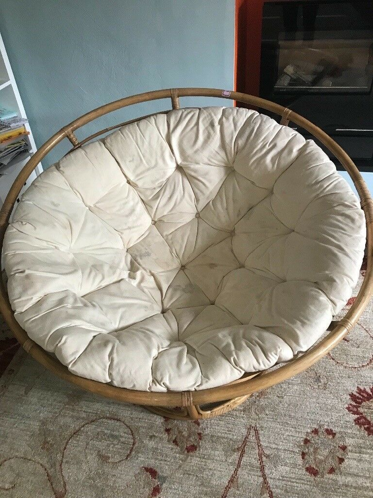Lovely Large Round Wicker Chair With Cushion In Truro