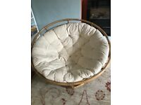 Lovely large round wicker chair with cushion