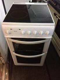 White Hotpoint 50cm ceramic hub electric cooker grill & fan oven with guarantee