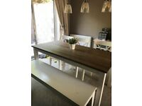 6 seater wooden table, bench and chairs