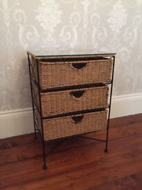 Two wicker glass topped bedside tables available. Perfect addition to any bedroom