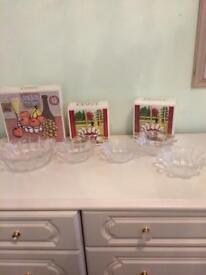 Dartington crystal bowl set daisy design new