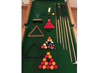 Custom made pool, snooker table with accessories and sold cover