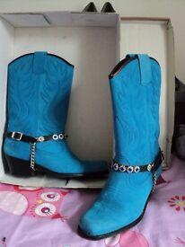 Ladies blue suede line dance boots size 6 (UK39)