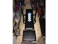 Weights bench and bare bell bar