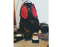 Canon DSLR package with lenses , cards, card reader , bag, zoom h4n etc