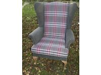 **** MODERN NEWLY UPHOLSTERED WING CHAIR IN GREY / PINK WHT CHECK + STUDDED DETAIL L@@K ONE OFF WOW