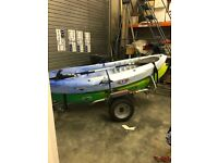 2 Mambo sit on top kayaks, oars and trailer