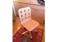 Swivel birch wooden chair