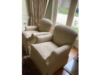 2 George Smith Dahl armchairs in Wicklow colour corn, in as new condition