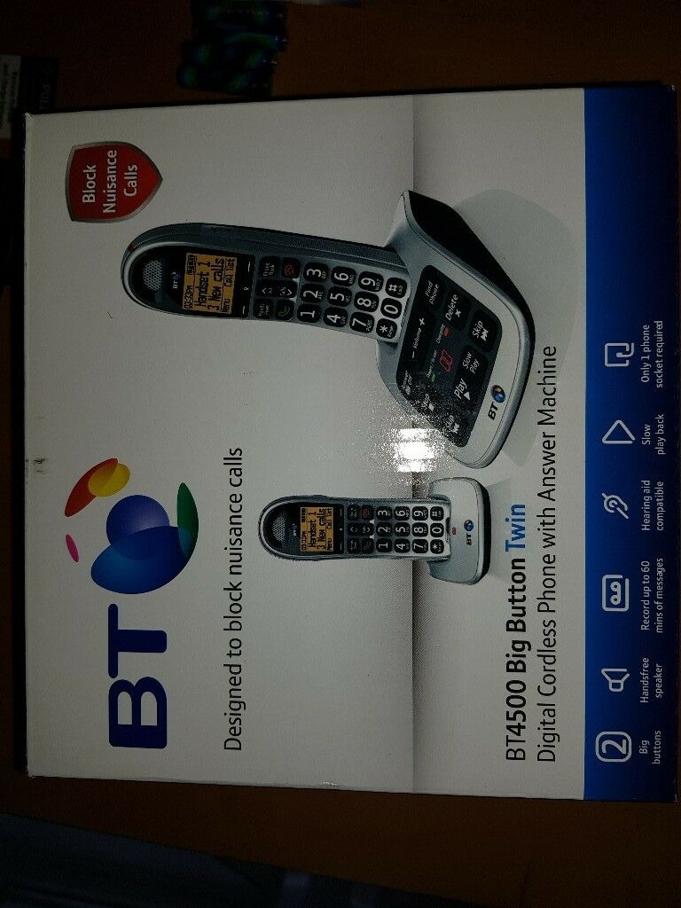 BT BIG BUTTON TWIN CORDLESS PHONES WITH ANSWERING