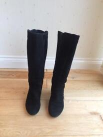 Black suede boots size 5