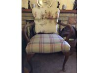 Queen Anne arm chair upholstered in Tavistock tweed and voyage stag scene fabric