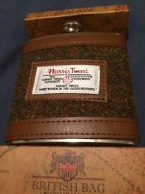 Genuine Harris Tweed covered 6oz stainless steel hip flask #1 PRICE INCLUDES DELIVERY