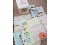 Next Ziggy & friends nursery bedding set curtains lampshade and wall art