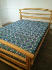 Double Pine Bed - Superb Condition, with free mattress