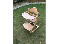 Stylish Wooden High Chair with adjustable height and detachable tray - Stokke Tripp Trapp style
