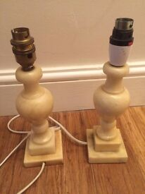 Pair of vintage marble table lamps