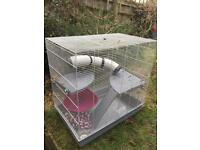 Large cage for rats or other beasties! Includes accessories and platform, tunnel, rope, and more!