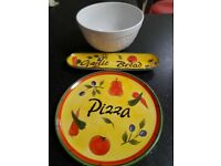 Pizza plate, garlic bread dish and large bowl