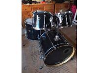 "Tama Superstar 4 Piece Drum Kit in Black - Rock Size 12"" 13"" 16"" 22"""