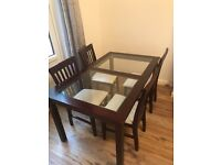 Dining room table + 4 chairs (Rose Wood)