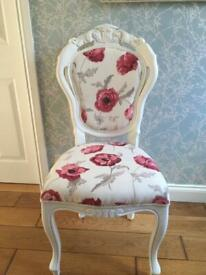 Shabby Chic Louis Style Chair reupholstered in Laura Ashley fabric
