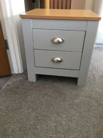 2 brand new grey bedside tables