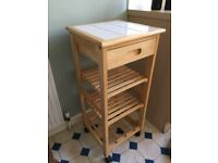 Kitchen trolley- wood, white tiles, shelves, drawers