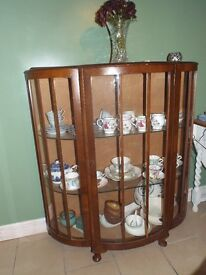 Vintage bow fronted wood and Glass Display Cabinet with queen anne feet