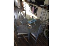 Glass table and chairs for kitchen