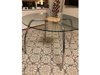 Glass circular dining table