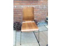 Ikea Set of 4 chairs, light brown , metal legs and wood seats