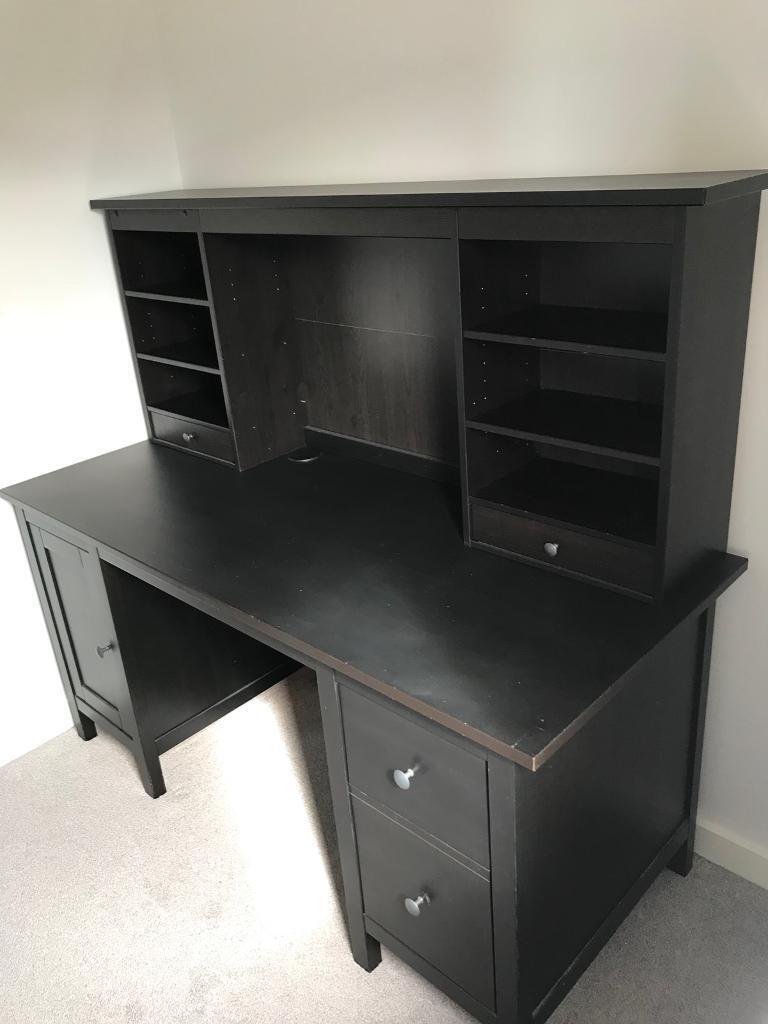Ikea Hemnes Desk With Add On Unit In Black Brown