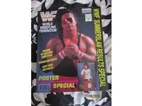RARE WWE/ WWF WRESTLING SUPER STARS POSTER MAGAZINE BRET HART 2 HAVE OTHER MAGAZINES