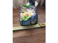 Big bag of fabric and two rolls of fadeless paper