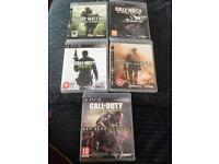 5 x Call of duty games for PS3