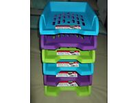 six tier plastic letter tray rack it is also stack-able only used a few times
