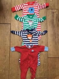 Bundle of 4 NEXT baby grow suits - up to 1 month