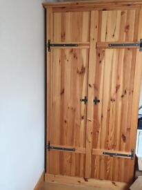Solid pine wood double wardrobe