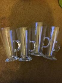 4 x latte style glasses