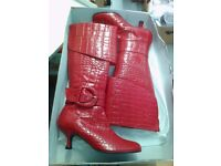 Brand new ladies designer red leather boots in original retail box with price tag £135
