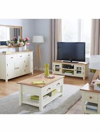 Set Living room furniture Large Sideboard / Large Tv unit / Coffee table in cream/ Lamp Table