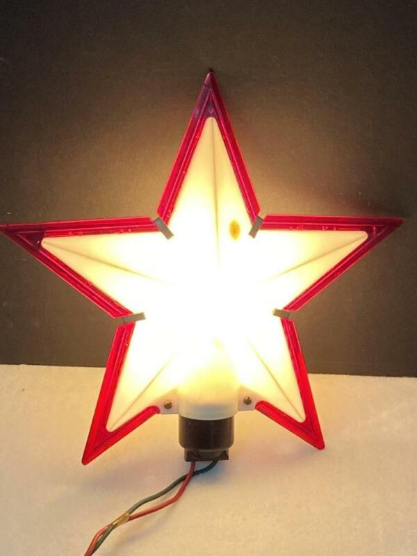 Vintage Red and White Hard Plastic STAR CHRISTMAS TREE TOPPER Lights 1950