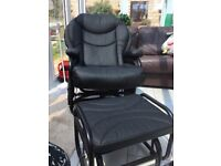 Black swivel rocker chair with rocking stool black faux fabric, padded extremely comfortabl